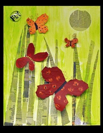 3-D butterflies on a collage background. I love the newspaper grass. Are you ready for Spring?