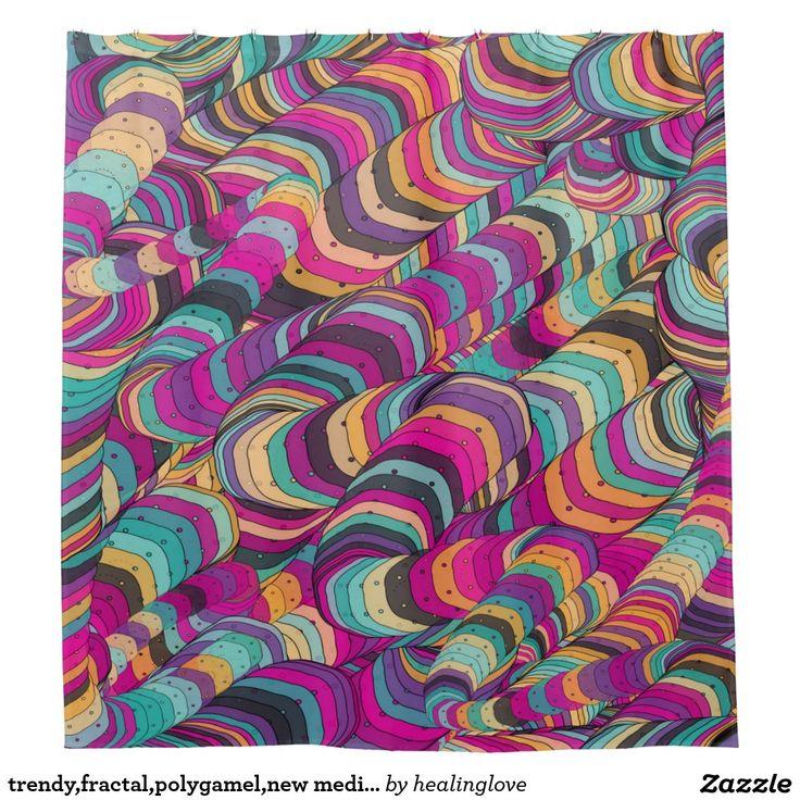 Trendyfractalpolygamelnew Abstract Art Shower Curtain
