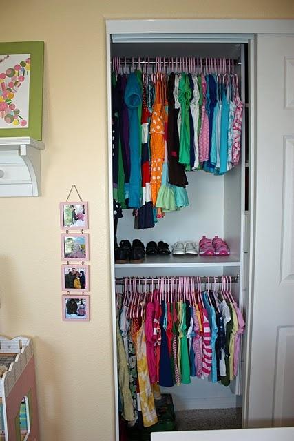Kids closet idea - love the shelf for shoes