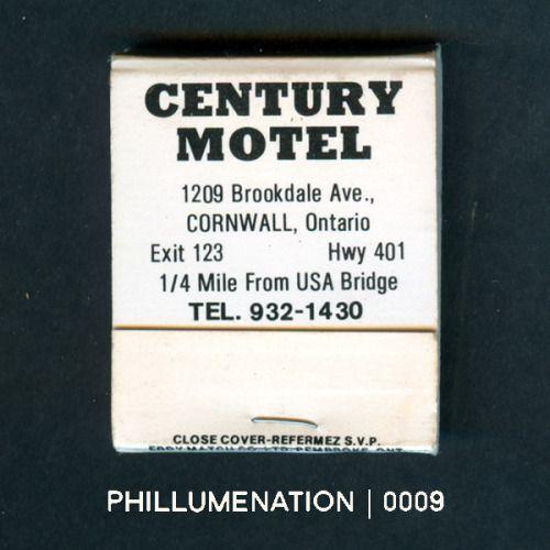 #Phillumenation 0009 : Century Motel   Cornwall, Ontario, Canada