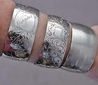 GREAT ESTATE LOT OF 3 ANTIQUE ETCHED STERLING SILVER BANGLE BRACELET CUFFS N/Rs - Antique, Bangle, bracelet, Cuffs, Estate, Etched, GREAT, N/Rs, silver, Sterling