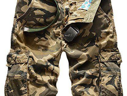Panegy Adultes Combat Shorts pour Homme/Garçon Bermudas Treillis Militaire Cargo Armee Pantalon de Travail Multi Poches Coton avec Ceinture…