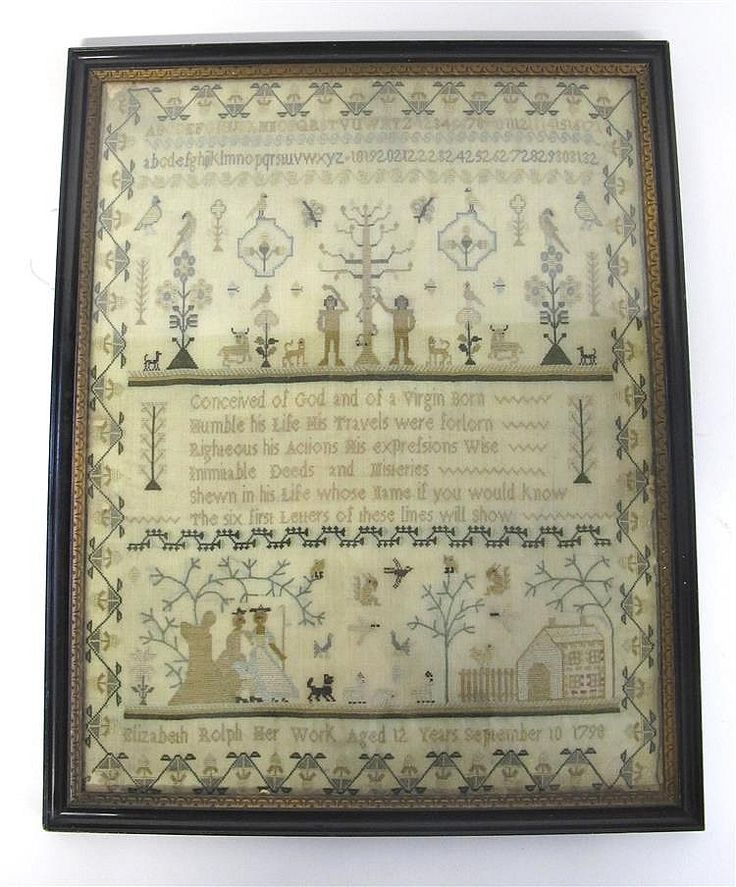 """English embroidered silk on linen sampler dated 1798, Showing flora and fauna including Adam and Eve, homestead and a couple under a tree, with inscription """"conceived of god and of a virgin born, humble his life his travels were forllorn, righteous his actions his expression wise, inimitable deeds and miseries, shewn in his life whose name if you would know the six first letter of these lines will show"""", and signed """"Elizabeth Rolph Her Work Aged 12 Years September 10 1798"""", H: 15 3/4, W: 12…"""