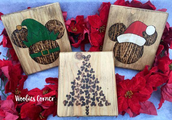 Disney Christmas Decor, Christmas Mickey, Disney Christmas signs, Christmas wood signs, Rustic Christmas decor, Christmas signs, Mickey ears