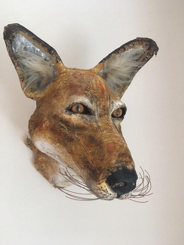 Fox Faux Taxidermy Recycled Paper Mache Fox Animal Head Faux