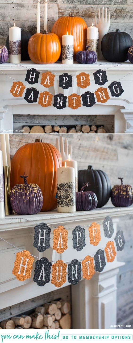 Happy Haunting Halloween Banner - Lia Griffith - www.liagriffith.com #diyinspiration #diyhalloween #diyparty #diyparties #banners #papercraft #paperart #madewithlia