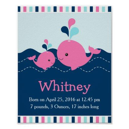 Pink Nautical Whale Baby Nursery Statistics Poster - newborn baby gift idea diy cyo personalize family
