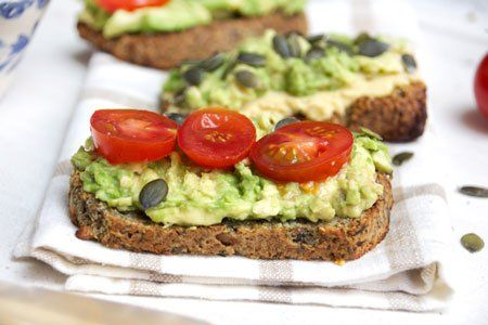 """What nutrition nerds eat for breakfast - I Quit Sugar @deliciouslyella creator of deliciouslyella.com: """"I have a superfood bread recipe which I love for breakfast. I top it with avocado and tomatoes."""""""
