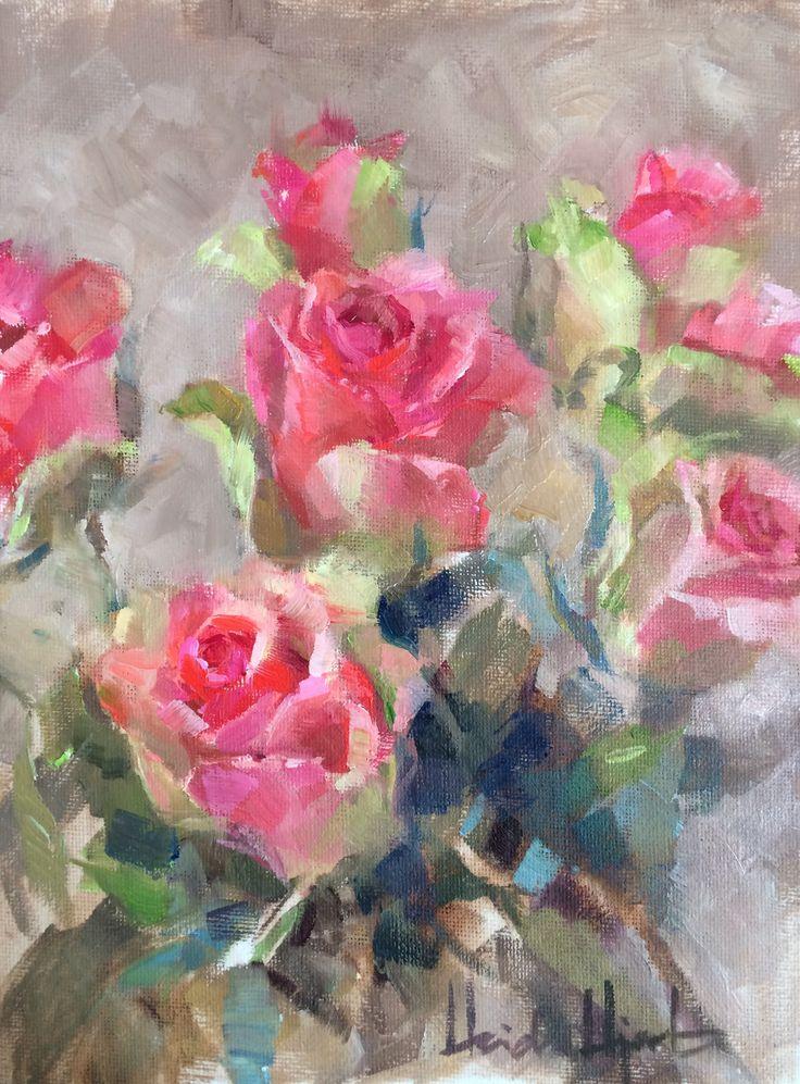 """Lovely Pinks"" by Finnish Artist Heidi Hjort 2017 | heidihjort.com Rose Painting, Oil Painting, Pink Roses Painting, Pink, Vintage Decor, Shabby Chic Decor, Livingroom Decor, Bedroom Decor, Kitchen Decor, Fine Art, Romantic, Rustic, Country House Decor"