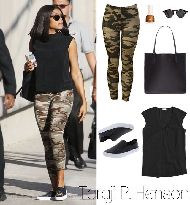 Taraji P. Henson's camo leggings and cap sleeve tank look for less