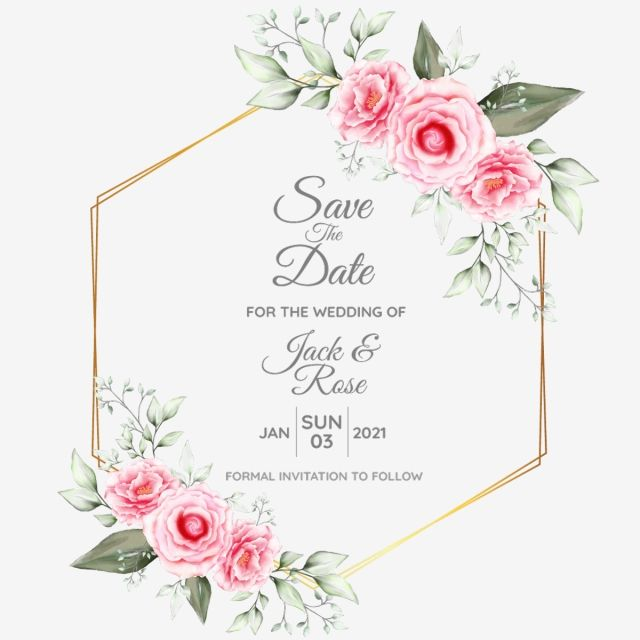 Watercolor Floral Cards Template With Geometric Golden Drawing