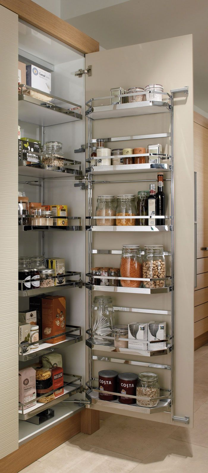 A pull-out larder would be a great use of space too. Picture from http://www.sncollection.co.uk