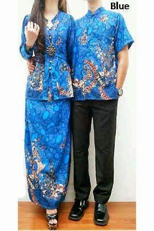 Busana Batik Tanah abang terbaru - Set Couple Batik HM0357 Biru / Blue