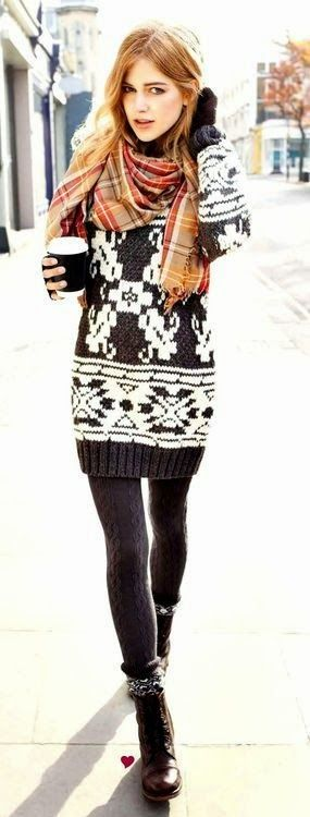 Winter style: Woolen Sweater with Woolen Leggings, Combat Boots,Colorful Scarf with Fingerless Gloves