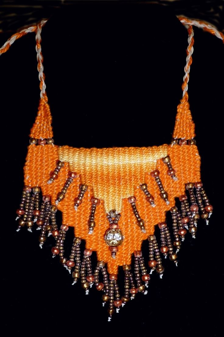 Creamsicle Cascade - 2014 - Available - Adjustable length, cascade pattern. Woven by Terri Scache Harris, theravenscache.shutterfly.com Hand woven, handwoven, weaving, weave, needleweaving, pin weaving, woven necklace, fashion necklace, wearable art, fiber art.