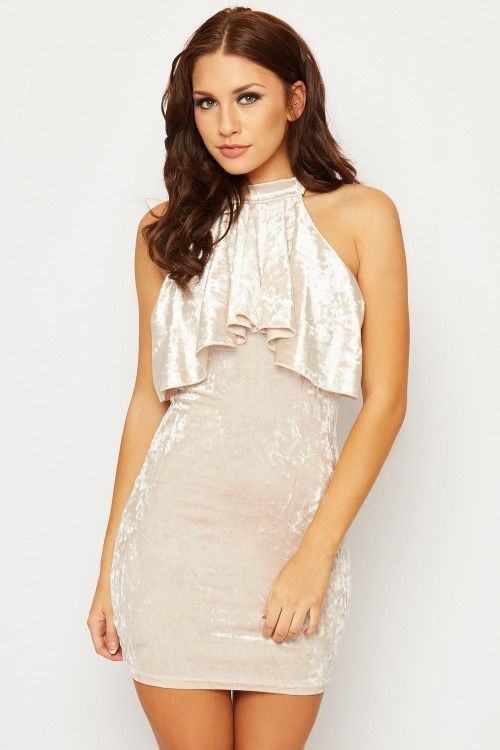 Lisbeth Crushed Velvet Frill Mini Dress | WearAll Find this gorgeous item at https://www.wearall.com/