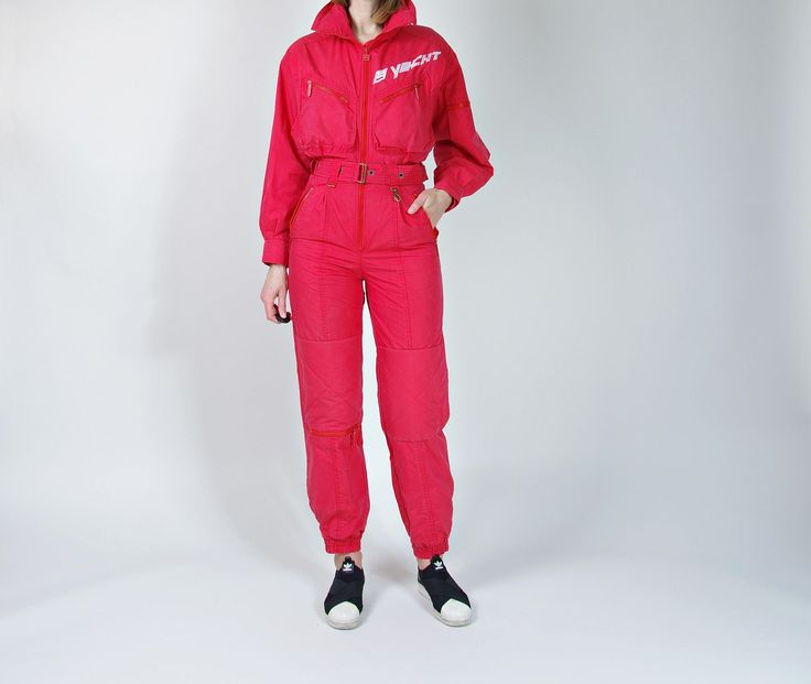 NEW 🔴 http://etsy.me/2D4dAL0 🔴 #80s #vintage #etsy #streetstyle #oldschool #vintagefashion #vintageclothes #red #Jumpsuit #coveralls #ski #snowboard #mountains #streetwear #womenswear