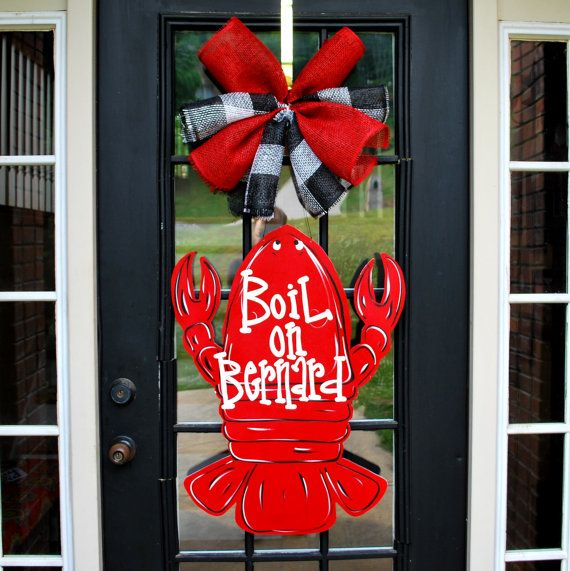 Door Hanger: Crawfish, Summer Door Decoration, Crawfish Decor on Etsy, $50.00