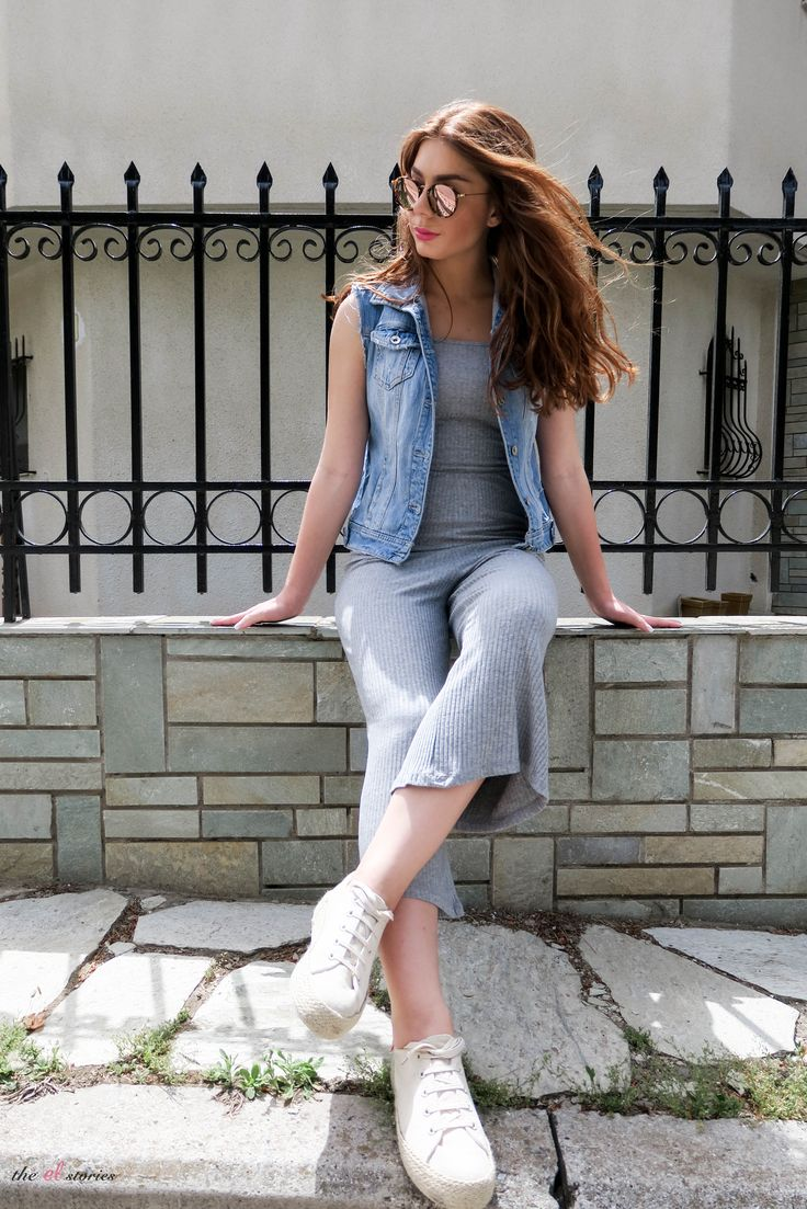 White Sneakers - Jumpsuit -Denim Vest - Street style - Summer 2017