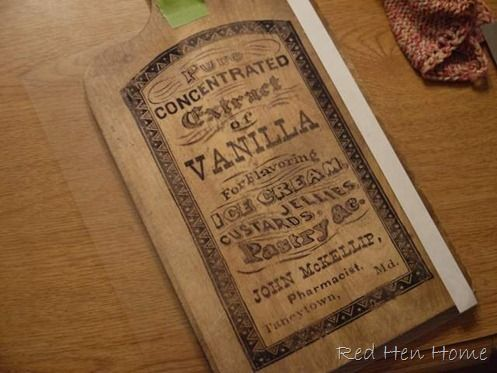 Tutorial.....how to transfer images onto wood and make a vanilla bottle style cutting board by Red Hen Home