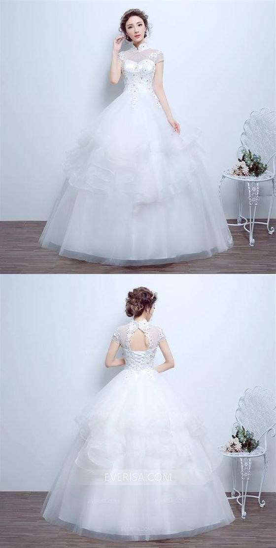 ec13b631b0d50 High Neck Short Sleeves Lace Beaded Wedding Dresses
