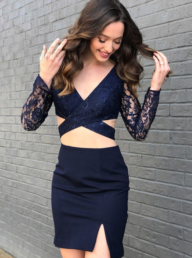 f686ec6f344 Best Two Piece V-Neck Short Navy Blue Homecoming Cocktail Dress with Lace  in jjpromgirl.com.  twopiece  bodycon  cutout