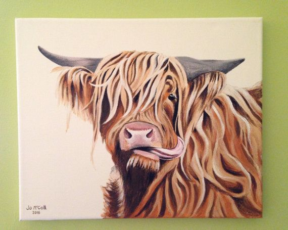 Highland Cow Moo Acrylic Painting Giclee Print By