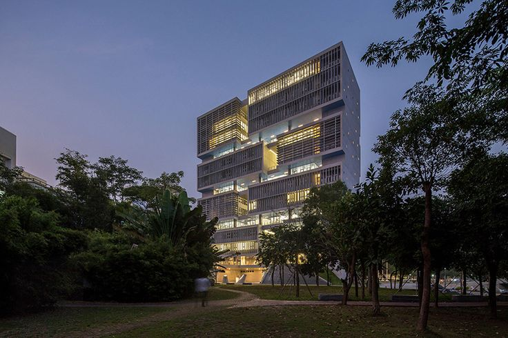 part of the tsinghua university campus, the ocean center is a laboratory and office building for the newly established deep-ocean research base-