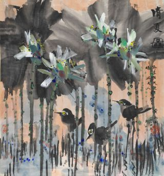 Huang Yongyu - Lotus with birds 1984 Synthetic polymer paint and ink on laid paper 153 x 115cm Gift of Hugh and Marney Dunn through the Queensland Art Gallery Foundation 2008 Collection: Queensland Art Gallery