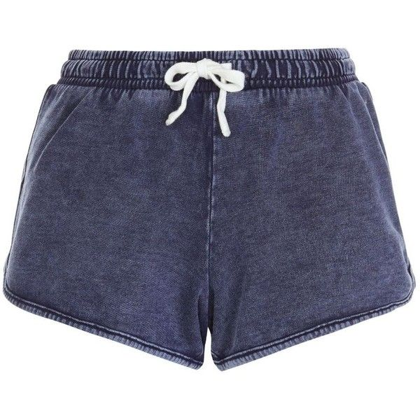 New Look Blue Acid Wash Runner Shorts ($12) ❤ liked on Polyvore featuring shorts, short, pants, blue shorts, mini shorts, summer shorts, blue cotton shorts and mini short shorts