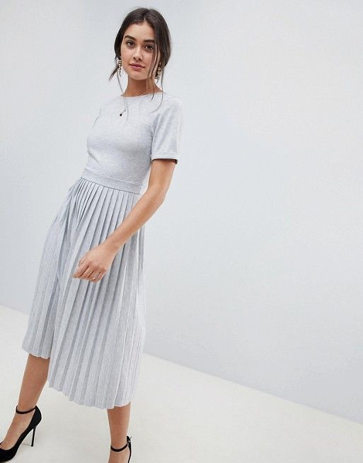 96d9c3ac4d8 DESIGN pleated skirt midi dress in 2019