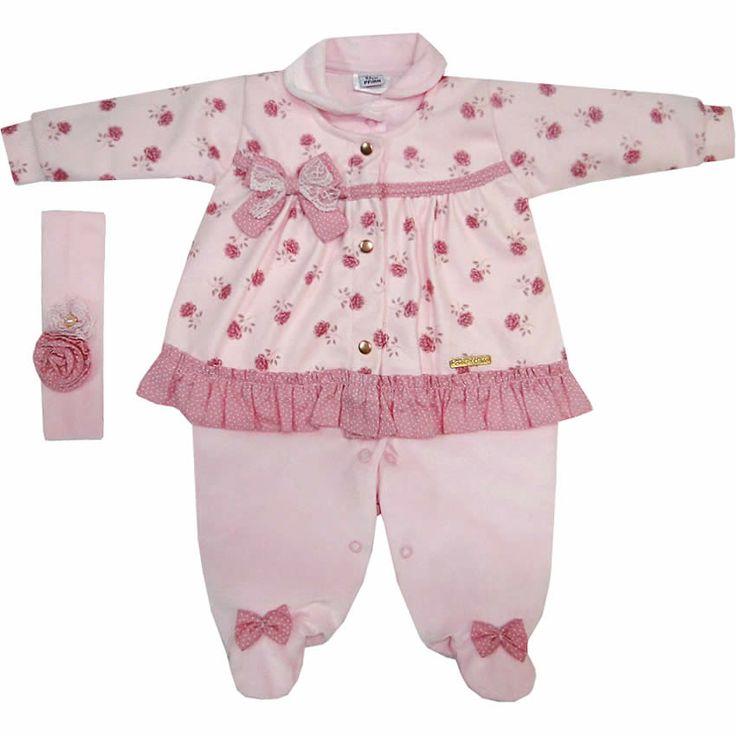 Macacão Bebê Menina em Plush e Soft com Faixa de Cabelo Rosa - Sonho Mágico :: 764 Kids | Roupa bebê e infantil