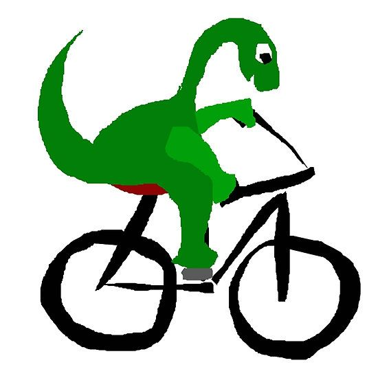 Funny Green Brontosaurus Dinosaur Riding Bicycle