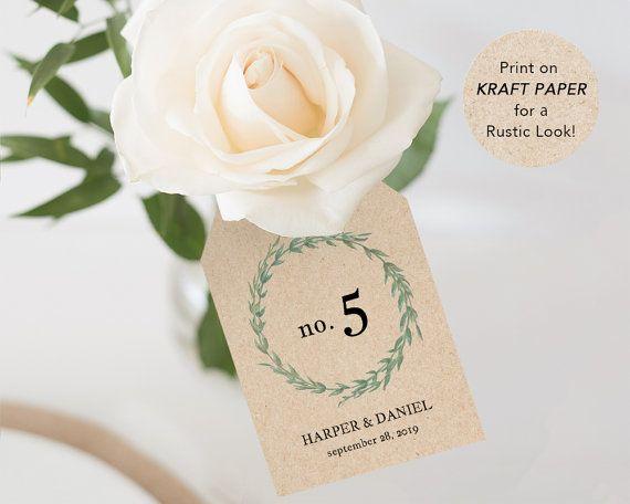 Printable Table Numbers Wedding Table Number by SmittenPaperProps