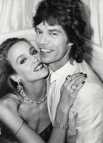 Mick Jagger and model Jerry Hall. Born Michael Philip Jagger  26 July 1943, Dartford, Kent, England.  Jerry Faye Hall born 2 July 1956, Gonzales, Texas, U.S. Married 1990-1999