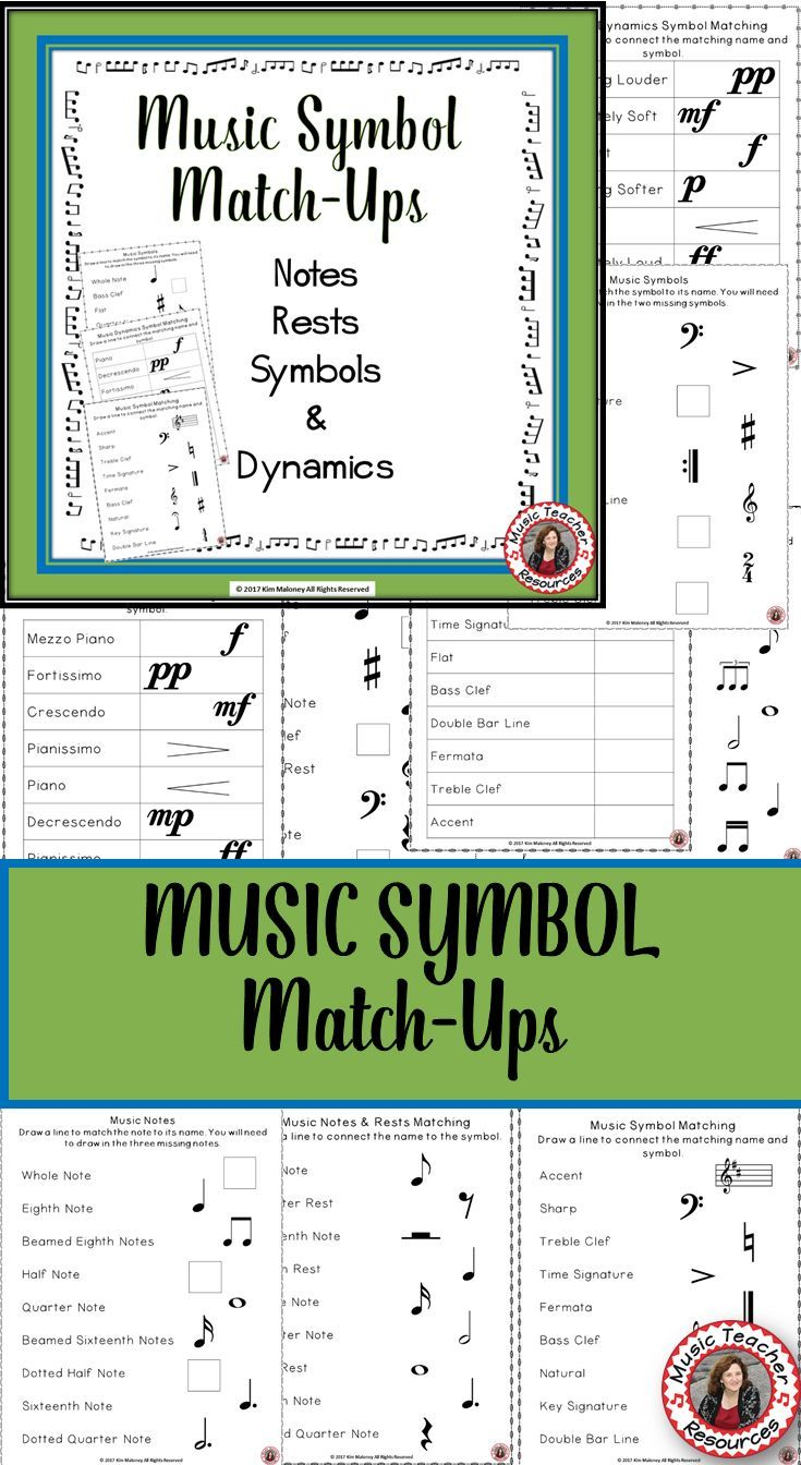 Music Theory       Music Symbol Match Up   Music Notes Rests and Dynamics      Music worksheets       ♫ CLICK through to preview the whole 50 page set!  ♫