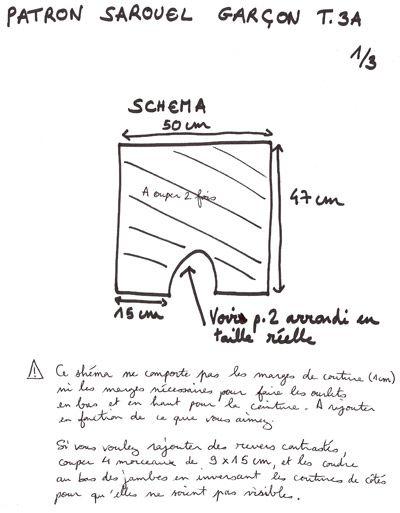 Sarouel 3 ans, Patron couture gratuit