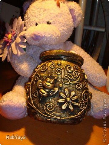 Декор предметов Аппликация из скрученных жгутиков Мишка очень любит мед Банки стеклянные Глина Салфетки фото 2