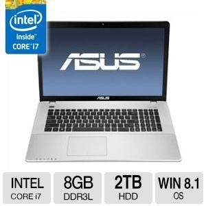 "ASUS X750JA Notebook PC - Intel Quad-Core i7 4702HQ 2.2GHz, 8GB Memory, 2TB HDD, 17.3"" HDPlus (1600 X 900), Windows 8.1"