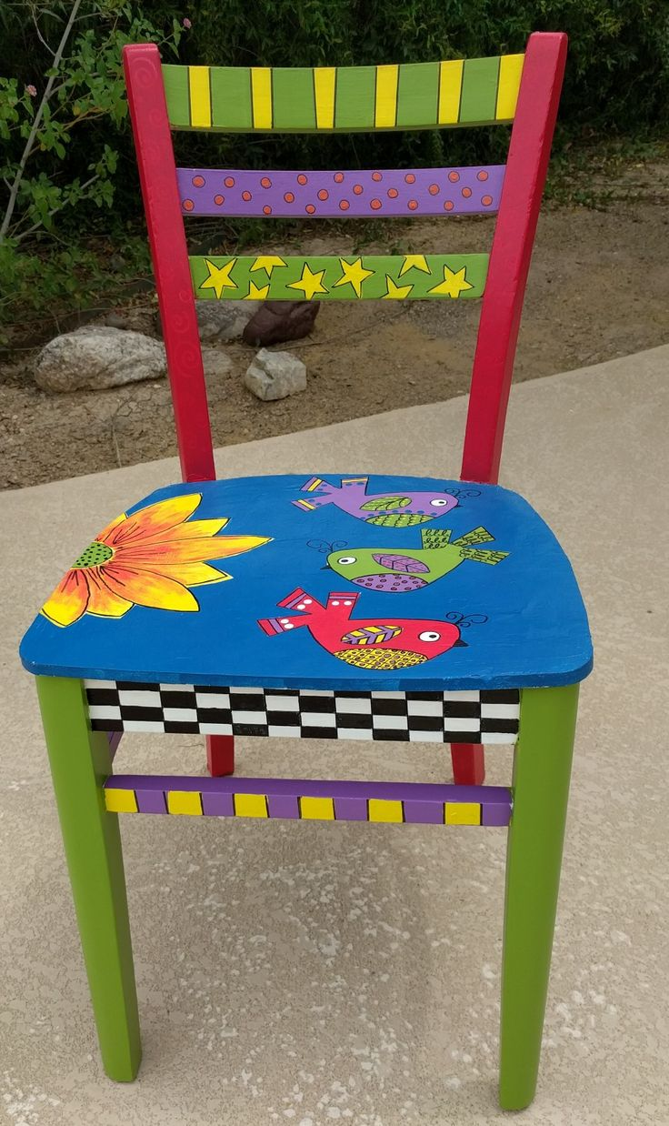 Painted chairs pinterest - Old Chair Now New Chair Whimsical Painted
