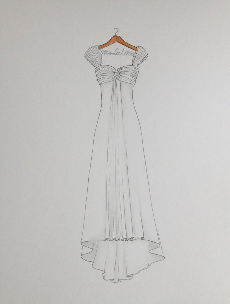 Custom wedding dress sketch wedding gown on hanger by Zoia on Etsy