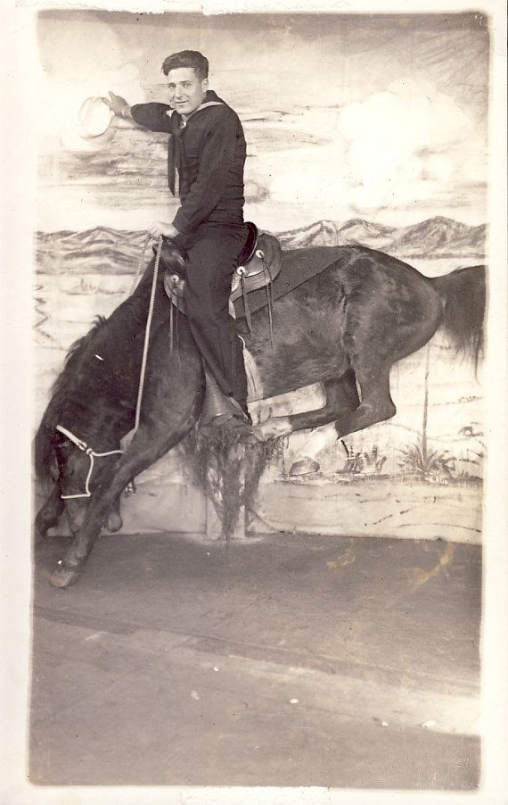 WWII SAILOR on Bucking BRONCO Horse Novelty by NiepceGallery