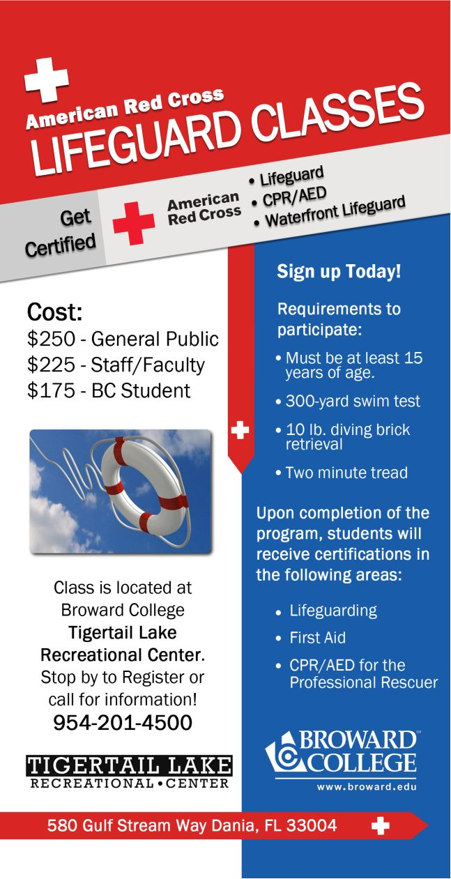Broward College will be holding lifeguard classes at the Tigertail Lake Recreational Center.  Call 954-201-4500 to sign up for the classes today.