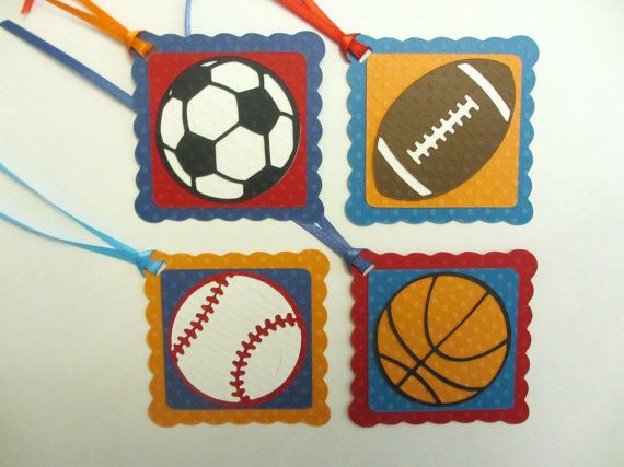 Sports Birthday Party Shower Gift Favor Tags Set of 12 Blue Red Orange Soccer Basketball Football Baseball Decorations Decor