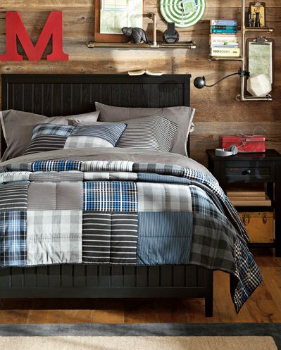 blue & gray bedding, pottery barn room