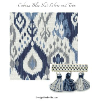 Cabana Blue Ikat print fabric and coordinating tassel trim. indigo, sapphire blue, on snowy white ground. ash grey accents.  available as cut yardage, draperies, and bedding. Design planning is fREE of charge using any material on our website.