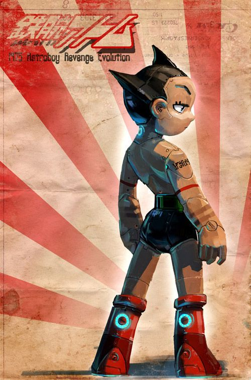 One of my favourite robots... Astroboy... looking especially cool in this illustration by Nolaj.