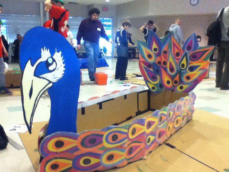 Peacock cardboard boat