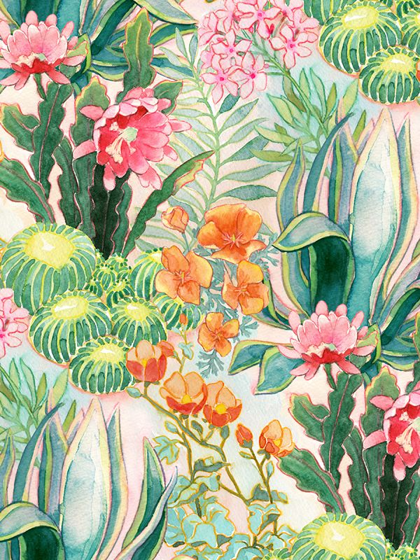 Various patterns made in photoshop using watercolor floral drawings