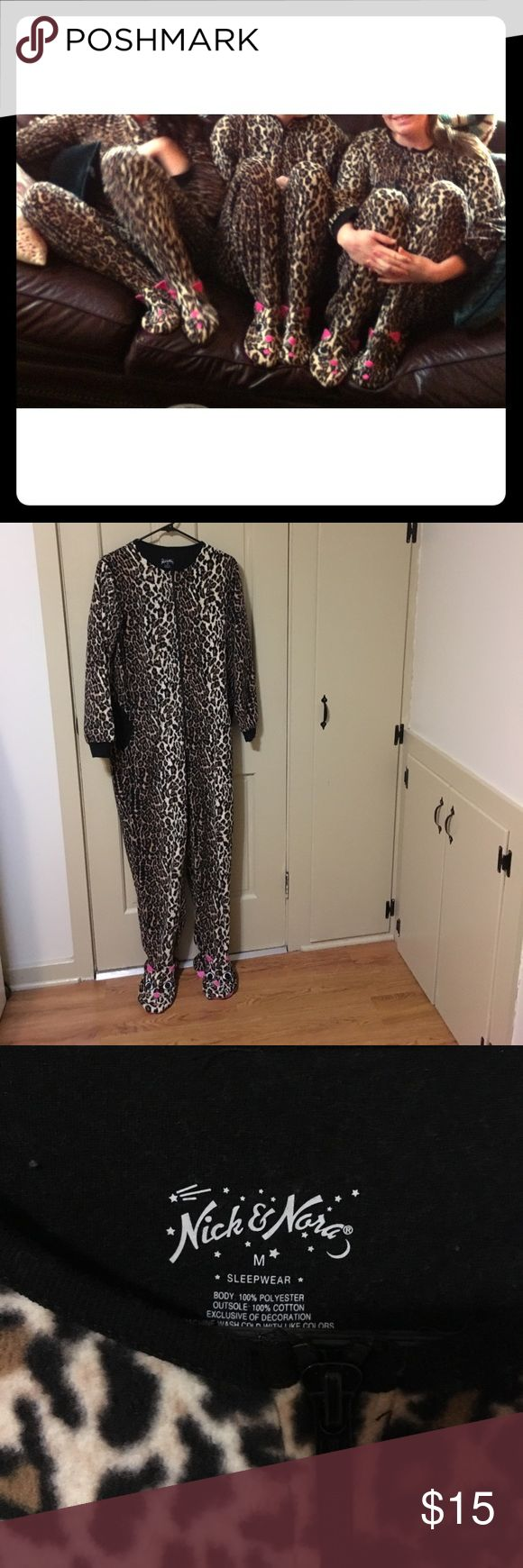 Nick and Nora Women's Footed PJ's Leopard Print Super cute fleece pj's worn once for Christmas morning! Great for lounging or you could even use for Halloween! Nick & Nora Intimates & Sleepwear Pajamas